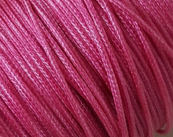 5 Metres 1mm KOREAN Waxed Cotton Cord - Round HOT PINK Cotton Wax Cord - Cotton Beading Stringing Cord - Australian Seller