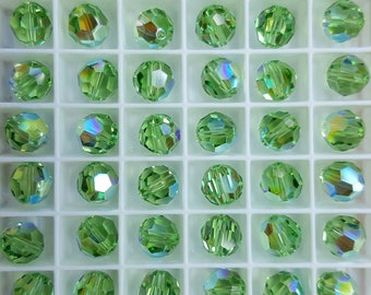 Swarovski 8mm Round (5000) Faceted Crystal Beads - Peridot AB - Select 6 or 12 Beads