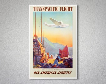 Transpacific Flight via Pan American World Airways (PAA)  Vintage Travel Poster - Poster Print, Sticker or Canvas Print / Gift Idea