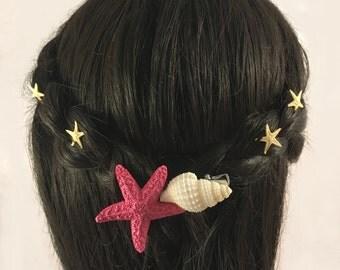 Starfish Seashell Hair Clip Blue and PINK