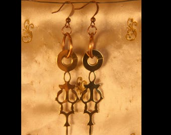 Vintage Clock Hand Earrings // Gold Colored Clock Hand Earrings // Steam Punk Earrings // Gold and Copper // Matching Earrings // Upcycled
