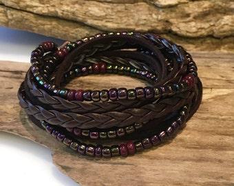 Boho Leather Wrap Bracelet/Leather Suede Beaded Wrap, Seed Bead Wrap/Chocolate Brown/Iris Purple, Gypsy Bracelet
