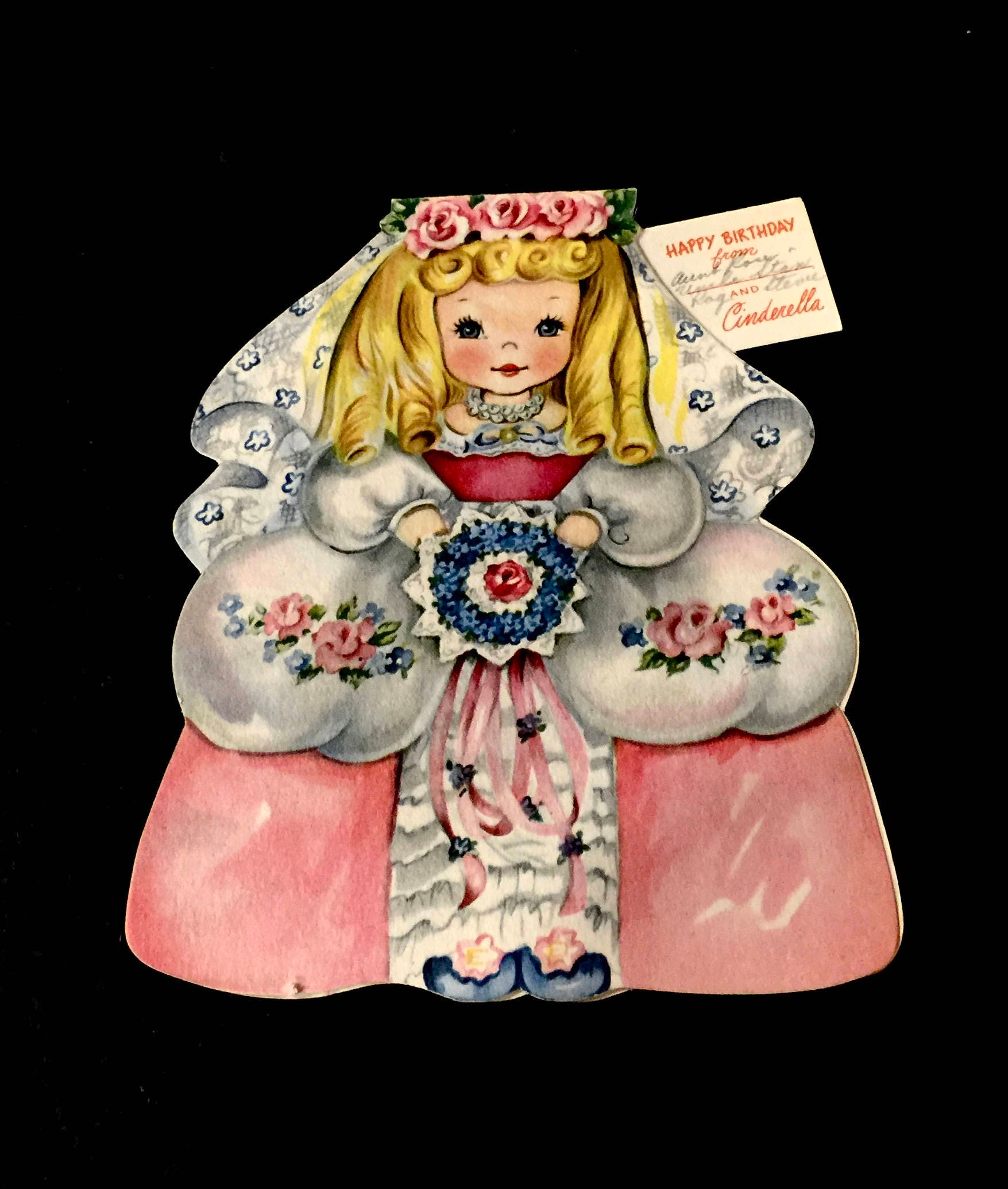 Vintage Storybook Greeting Card Paper Doll Cards Cinderella Fairy