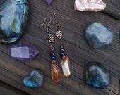 tangarine aura crystal earrings, gypsy earrings, tribal fusion earrings, aura crystal earrings