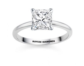 0.47 Carat  GIA Certified Princess Cut Genuine Diamond Solitaire Engagement Ring in 14k Gold