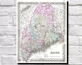 Vintage Map of Maine, 1855 Colton Map of Maine, State Map Wall Art Decor, 9521
