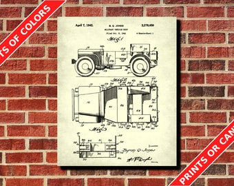 Willy's Jeep Print Willy's Jeep Design Poster Art Willy's Jeep Blueprint Vintage Military Decor