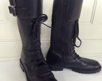 Tall lace up black leather combat boots - size 8 1/2
