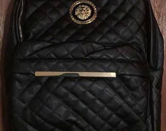 Black Leather & Gold Lion quilted Backpack