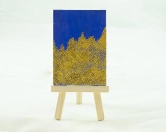 Blue and Gold, Glitter Art, Mini Art, Small Canvas Art, Glitter Painting, Gold Glitter Art, Tiny Canvas Art, 2 x 3 Canvas