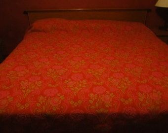 Vintage Red and Green  Floral Reverible Bedspread/Heavy