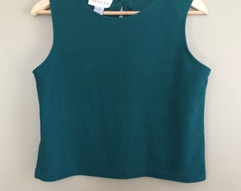 Vintage 90s Textured Teal Semi-Cropped Sleeveless Crew Neck Knit Tank by Metro 212 New York