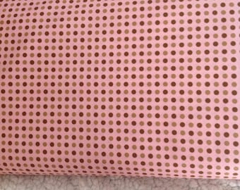 Fraise by Holly Holderman, Tonal Dots for Lakehouse Dry Goods, Pink fabric with Brown Tonal Dots, Fabric by the Yard OOP