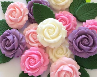 LILAC PINK IVORY Roses & Leaves edible sugar flowers cake decorations cupcake toppers
