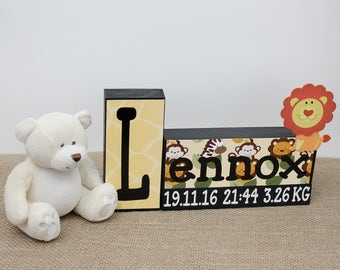 Baby Boy Nursery Decor, Nursery Name Letter Wood Blocks, Baby Girl Nursery Decor, Baby Name Sign, Baby Keepsake, New Baby Gift, Baptism Gift