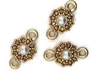 Pearl and Light Colorado Topaz Crystal Mini Floral Connector (3 Pieces)
