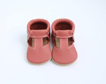 T-Strap Mary Jane Moccasins in Tulip