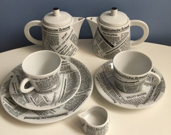 Tea Coffee Set by Seltmann Weiden Bavaria Germany. Black and white newspaper graphics. Tea Coffee Pot, tea cups, saucers plates.