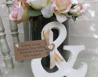 Handmade Vintage Ampersand & they lived happily ever after Wedding Gift