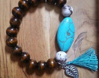Wood beaded stretch bracelet
