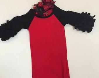 Ruffled Raglan gown size 0-3