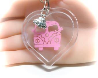 Keychain,VW Bus keychain,acrylic keychain,Gift for her,Gift for hostess, Gift,Gifts under 10,70's styles,new driver gift,heart shaped,Gifts