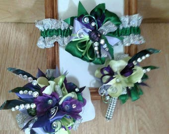 Purples, greens and glitz wrist corsage, boutonniere and garter set