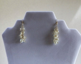 White Pearl and Crystal Cluster Earrings