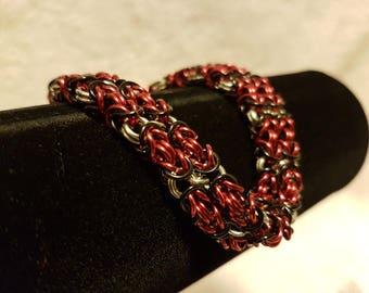 Red/Black Double Byzantine Bracelet