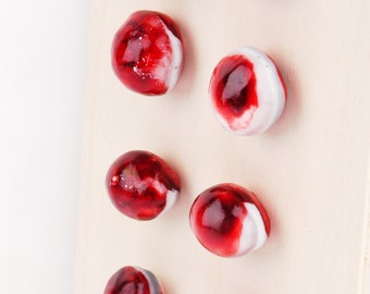 """Drawer knobs, """"small, red pebbels"""", hand made of resin, set of 8"""