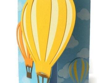 10 Hotair Balloon Invitations-Handmade Hot air Balloon Card- Invitation - Set of 10pcs