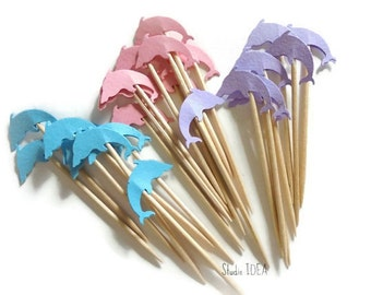 24 Mixed Sea Blue, Pink and Lavender Dolphin Cupcake Toppers, Food Picks-Set of 24 pcs