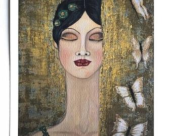 "Fine art print on Giclee paper 8"" x 10"" ready to frame ""Bliss II"" Portrait by Deborah Bowe DCBArtstudio"