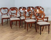 Antique English Victorian Set of 12 Mahogany Balloon Back Upholstered Dining Chairs (Circa 1860)