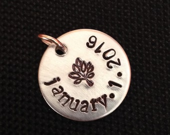 Small hand stamped aluminum disc pendant with personalized date