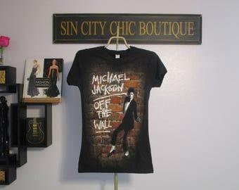 Michael Jackson Shirt. Vintage T-shirt. Graphic Tee. Top. Retro Black Women's Medium. King Of Pop. 'Off The Wall' Album. Urban Streetwear.