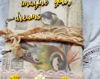 "Junk journal, ""Imagine your Dreams"" journal, art journal, diary, Smashbook"