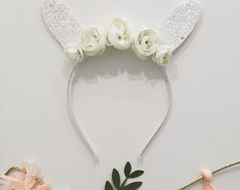 White Glitter Bunny Rabbit Ears Headband // Floral Easter Bunny