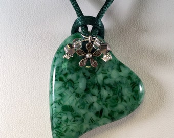 Fused Glass Jewelry, Heart Pendant, Fused Glass Necklace, Green Heart Glass Pendant with Satin Cord, Charms and Beads