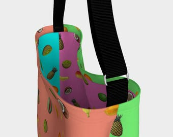 Tropical Fruit Stretchy Neoprene Messenger Tote Bag  Pineapple Kiwi  Purse Shoulder Crossover Shopping Women Teen Adjustable Strap Accessory
