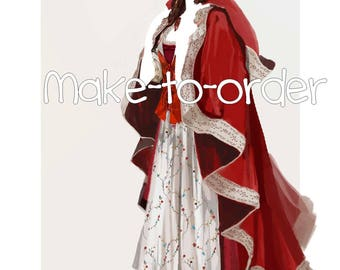 Belle red gown Beauty and the beast cosplay costume