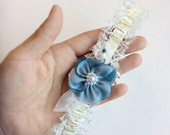 Bridal lingerie wedding garter, with Something Blue, bridal garter, gift for bride to be, floral garter, keepsake garter Blue Lily Magnolia