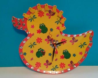Repurposed Plastic Duck Plate Clock, Duck Decor, Handmade, Recycled, Upcycled, Duck Wall Clock, Functional Art, Made By Mod.