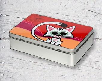 Cartoon Cat Rectangular Personalized Sublimation Metal Tin TG01