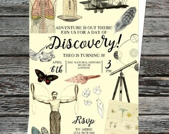 Personalised Vintage Museum Invitations, custom, bespoke printable file, Discovery invite, Inventors party, educational history birthday