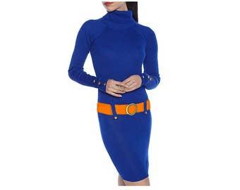 Blue + Orange Sweater Dress