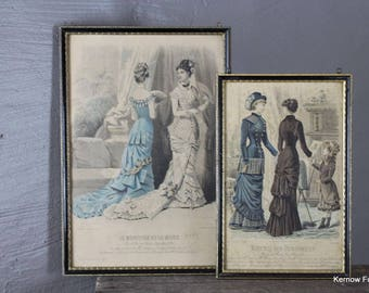 Set 5 Framed Victorian Fashion Plate