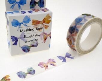 SALE!!Bow Washi Tape/Deco Masking Tape/Planner Sticker/ Scrapbook Tape/ Deco tape TZ1712