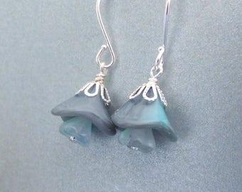 Czech glass flower earrings, gray aqua flower beads, silver bead caps, simple earrings, flower jewelry, glass bead jewelry