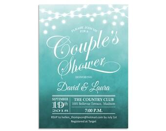 I Do BBQ Invitation / Couple's Shower Invites / Aqua Blue / Turquoise / Watercolor / Rustic Fairy Lights / String Lights / Printable Digital